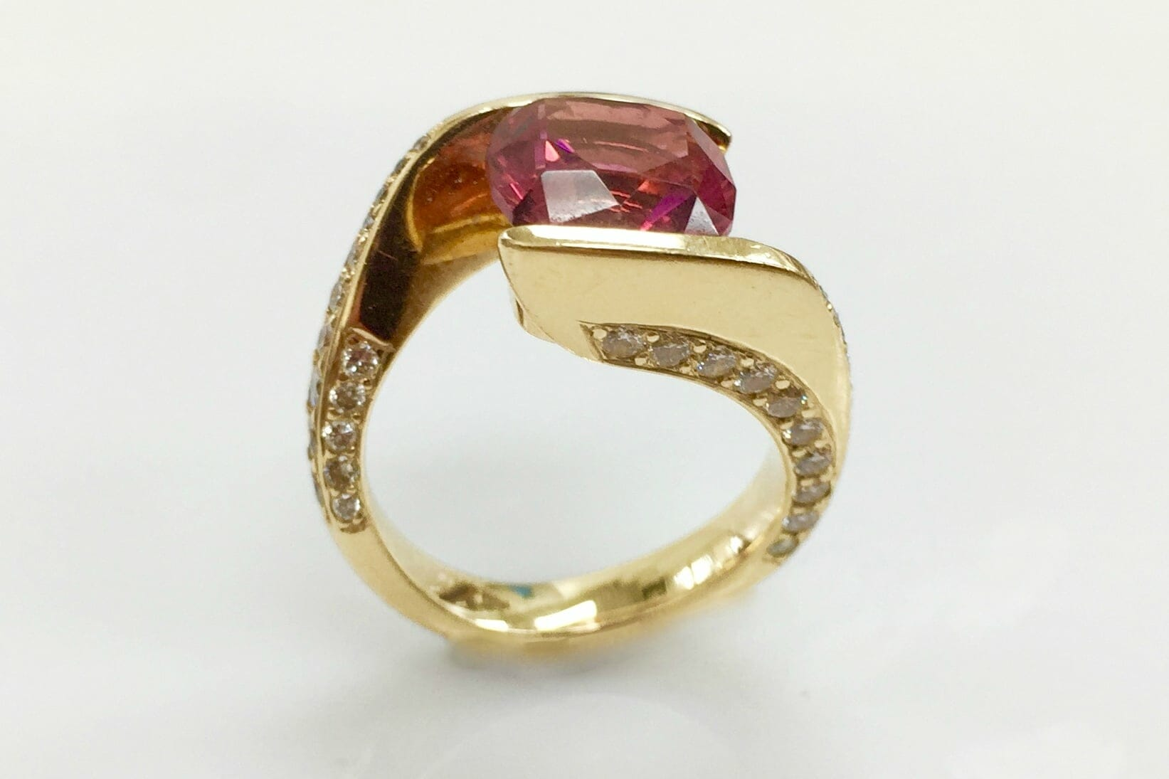 Allyn Pink Tourmaline and Diamond Bypass Ring side view