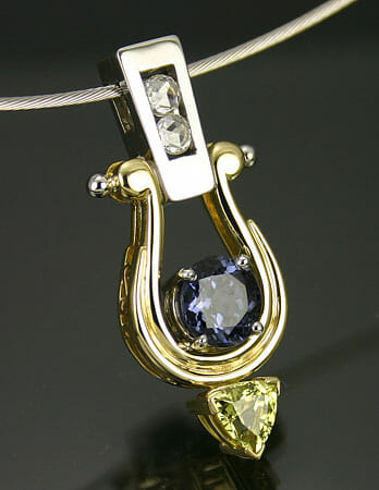 Tansanite and Citrine Pendant with Diamond Trim