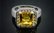 Yellow Topaz and Diamond Ring