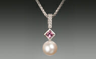 Pink Tourmaline Diamond Pearl Necklace