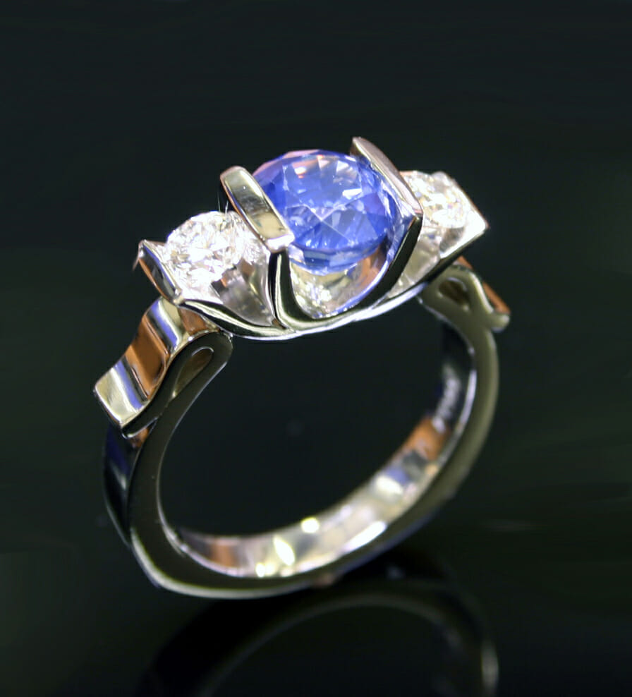 Lotus Diamond and Sapphire Ring