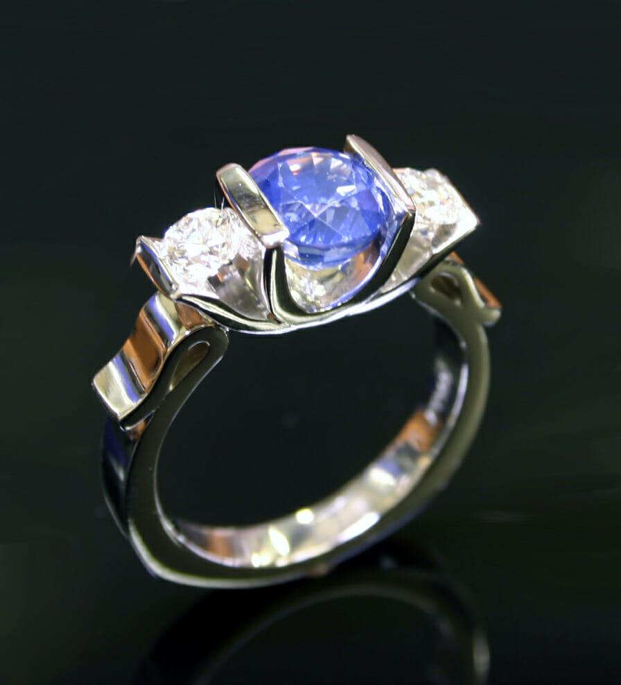 Lotus Diamond & Sapphire Ring