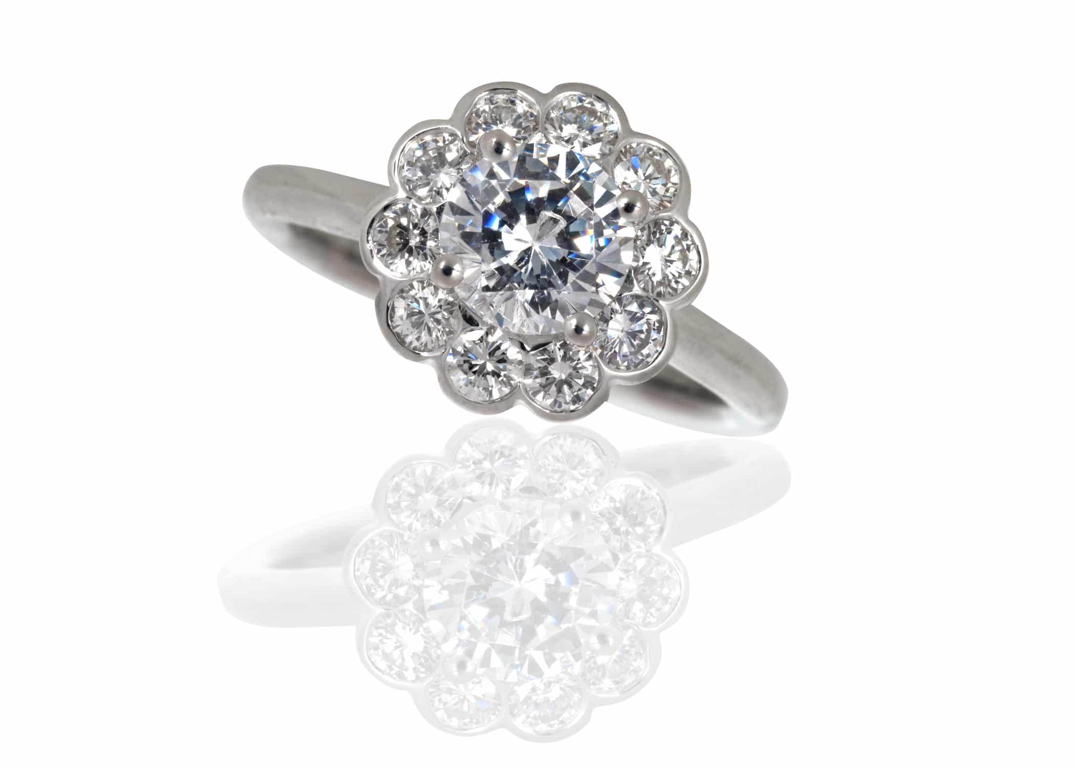 broadway diamond set rings the jewellers shoulders with cluster daisy