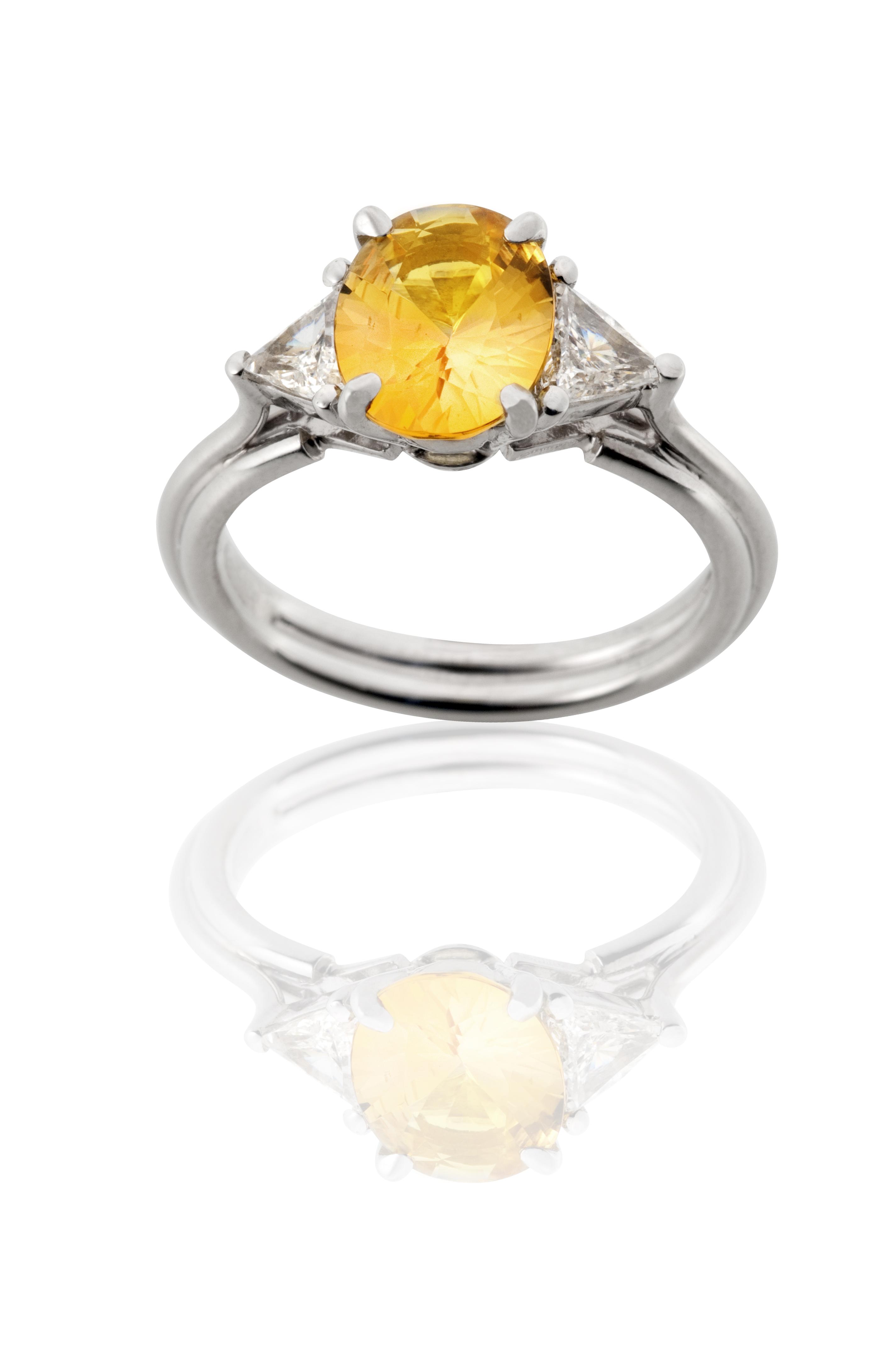 Yellow Sapphire 3 Stone Ring