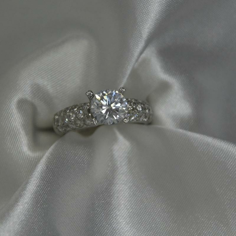 Domed Pave Diamond Ring by Keezing Kreations