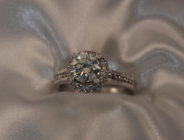 Channel Set Halo Diamond Engagement Ring Keezing Kreations