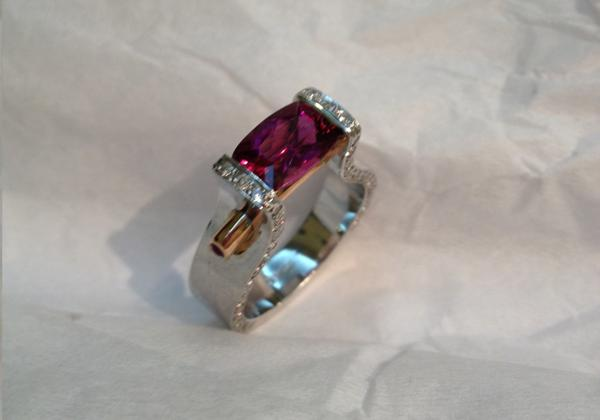 Pink Tourmaline Ring with Diamond Trim