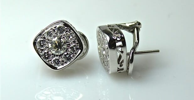 Vintage 14K Halo Diamond Earrings