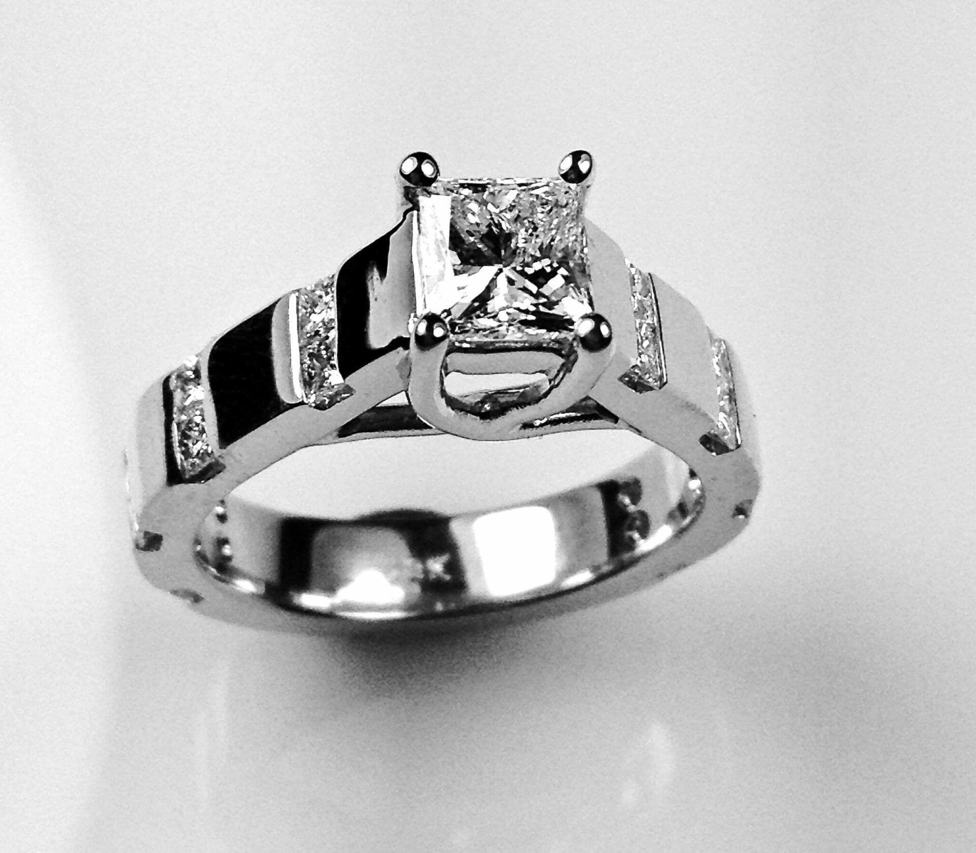 Princess Cut Channel Band Engagement Ring