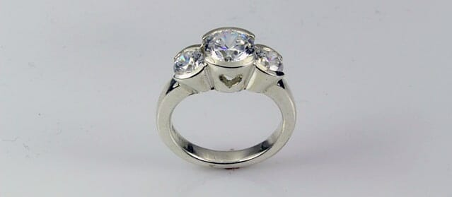 Platinum Three Stone Bostonian Engagement Ring
