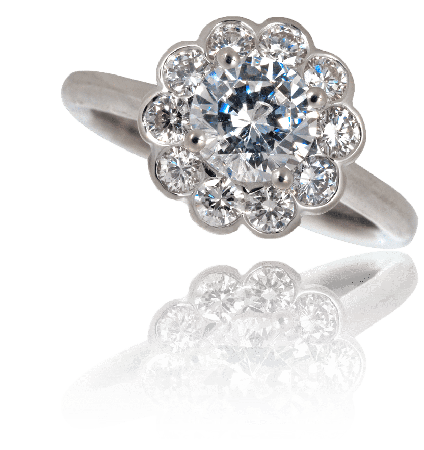 ring daisy edwardian engagement sparta diamond cluster rings at