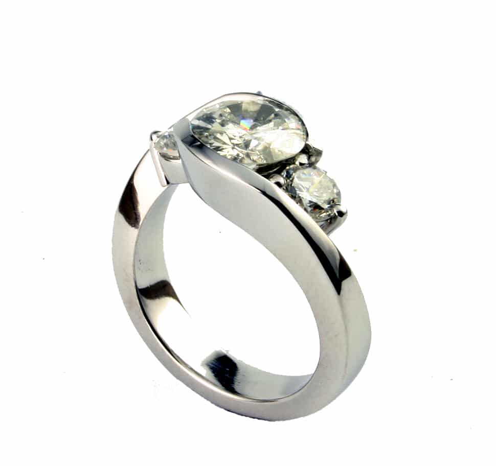 half bezel diamond engagement ring