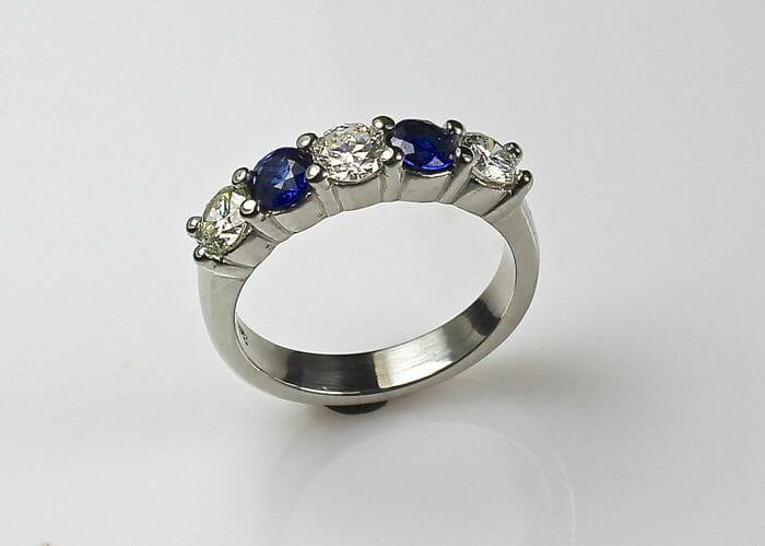 Ladies Sapphire and Diamond Wedding Band