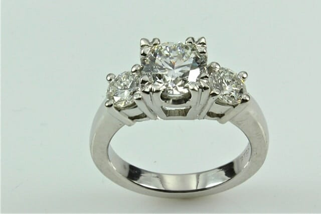 Vintage Platinum Three Stone Diamond Engagement Ring