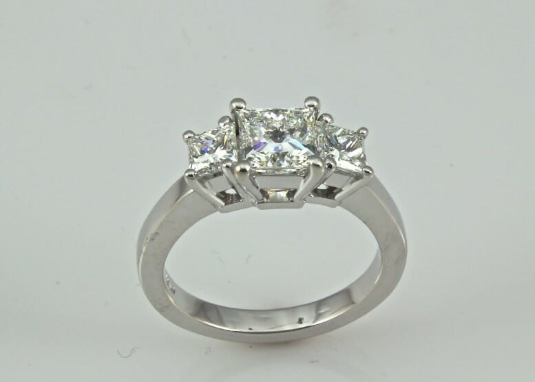 Princess Cut Bostonian Three Stone Diamond Ring