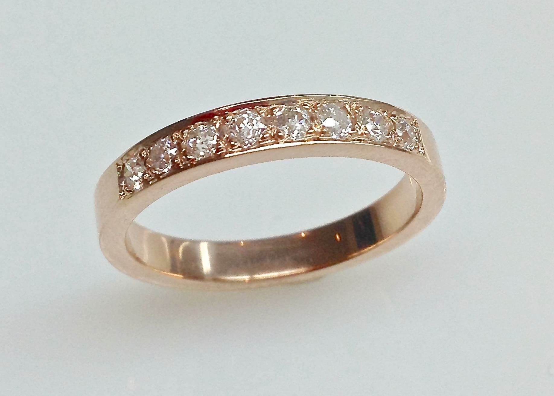 Rose Gold Wedding Ring with Pave Diamonds