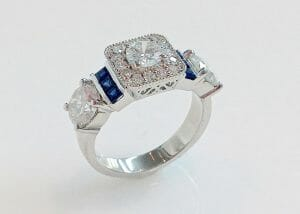 square halo diamond ring with sapphires