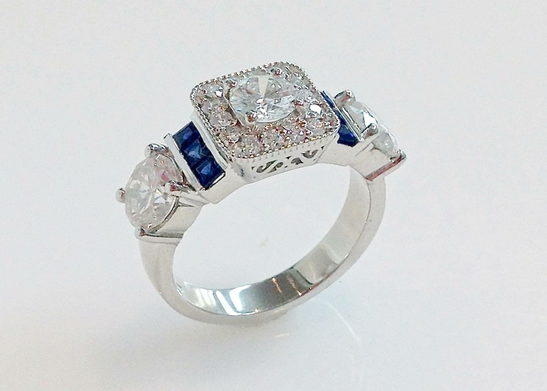 Square Halo Diamond Ring with Sapphires |Keezing Kreations