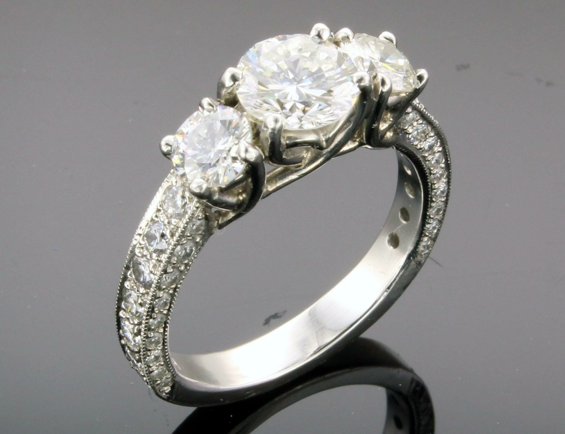 single rings round wedding diamond gallery stone ring caitlyn engagement