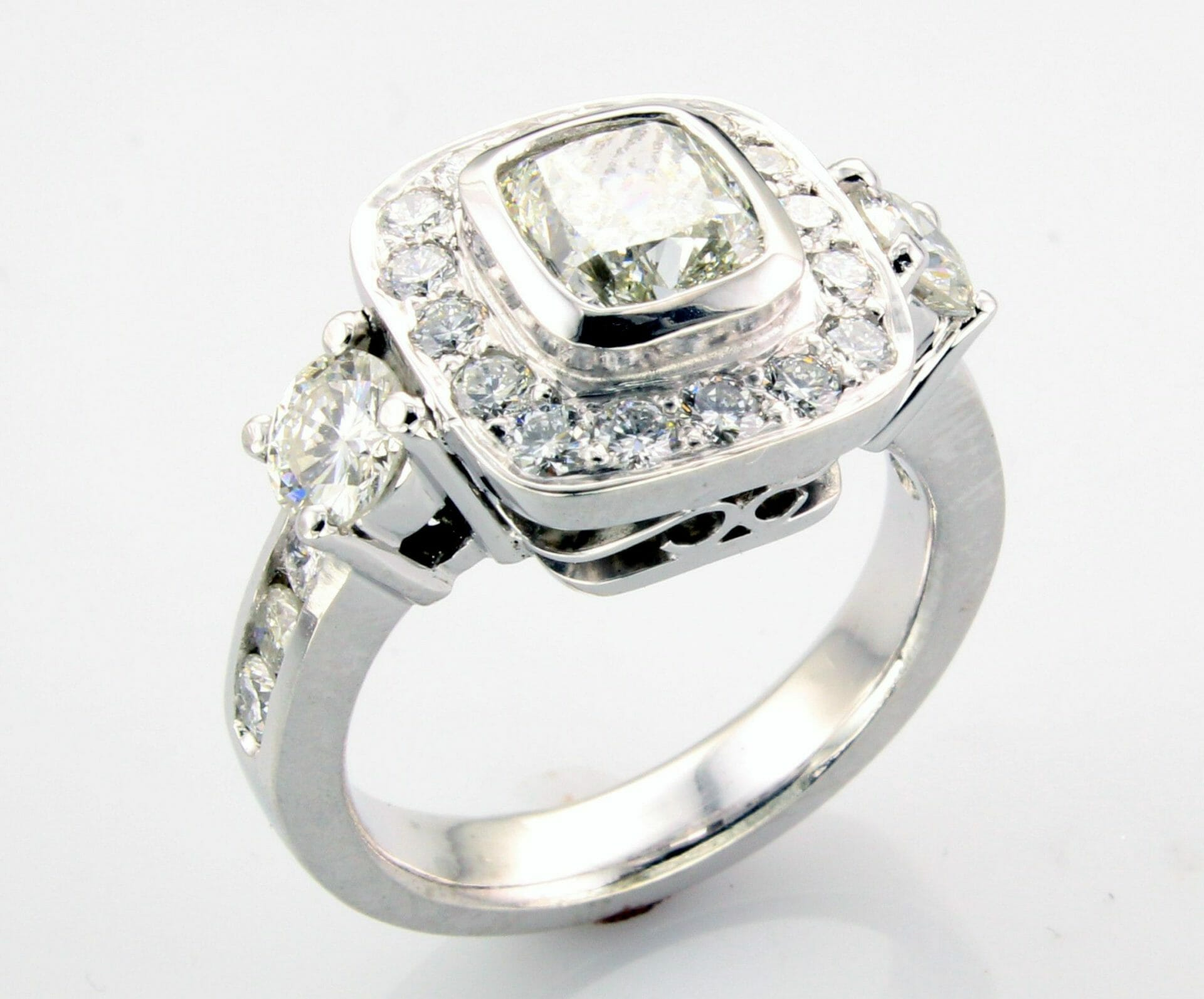 Halo Diamond Engagement Ring with side diamonds