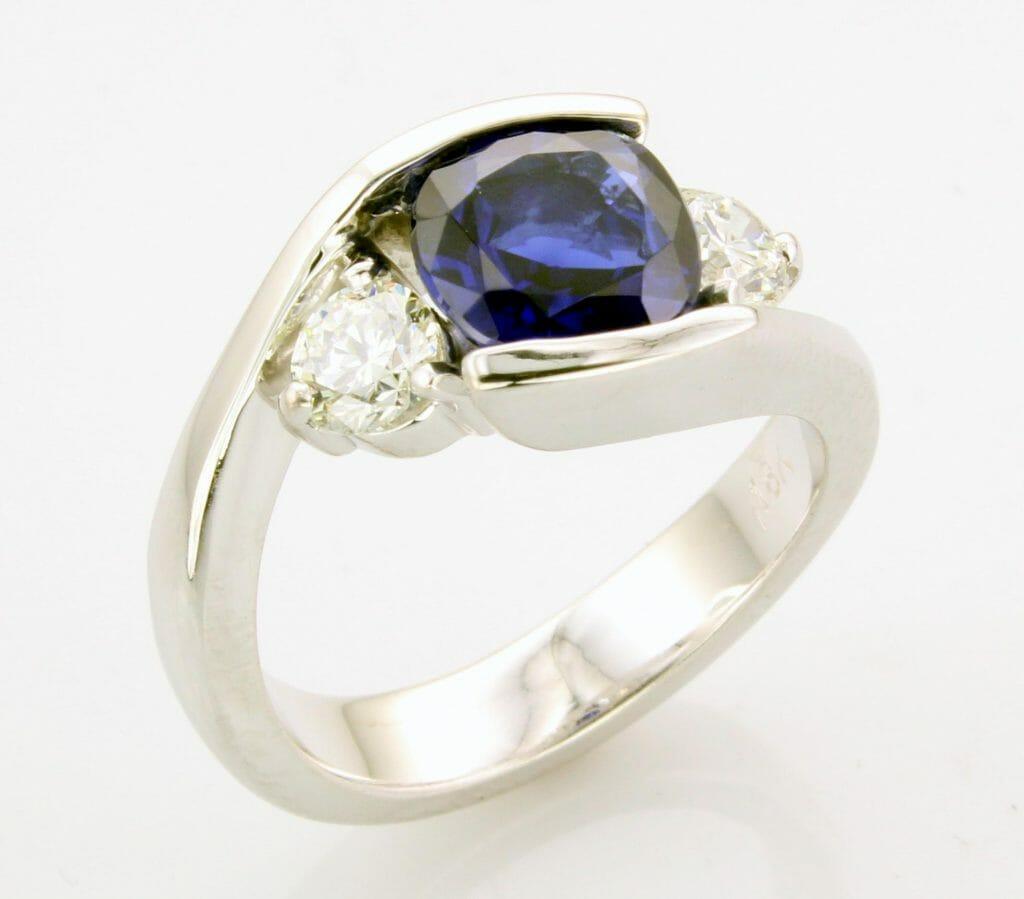 Blue Sapphire Engagement Ring Keezing Kreations Boston