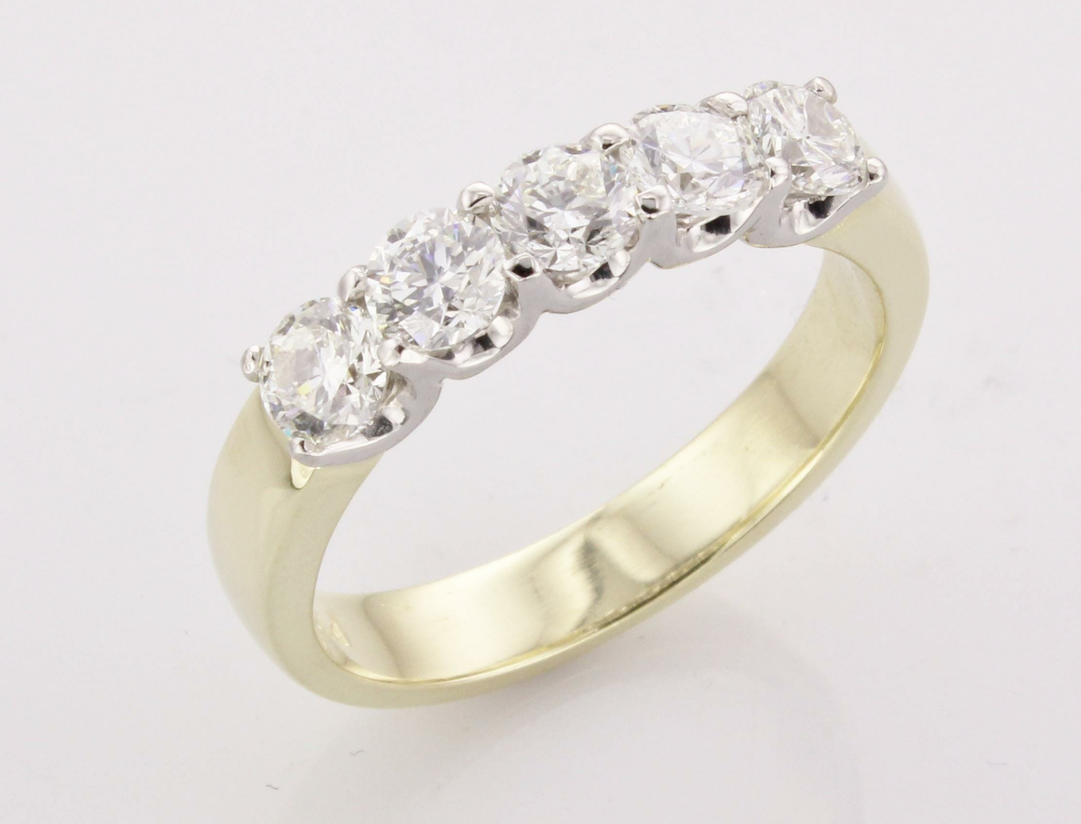 yellow gold five diamond wedding band