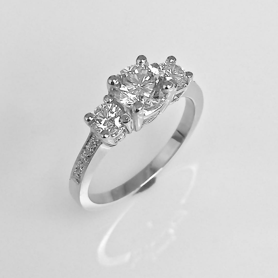 Three Stone Diamond Ring Prong Setting with Side Diamonds