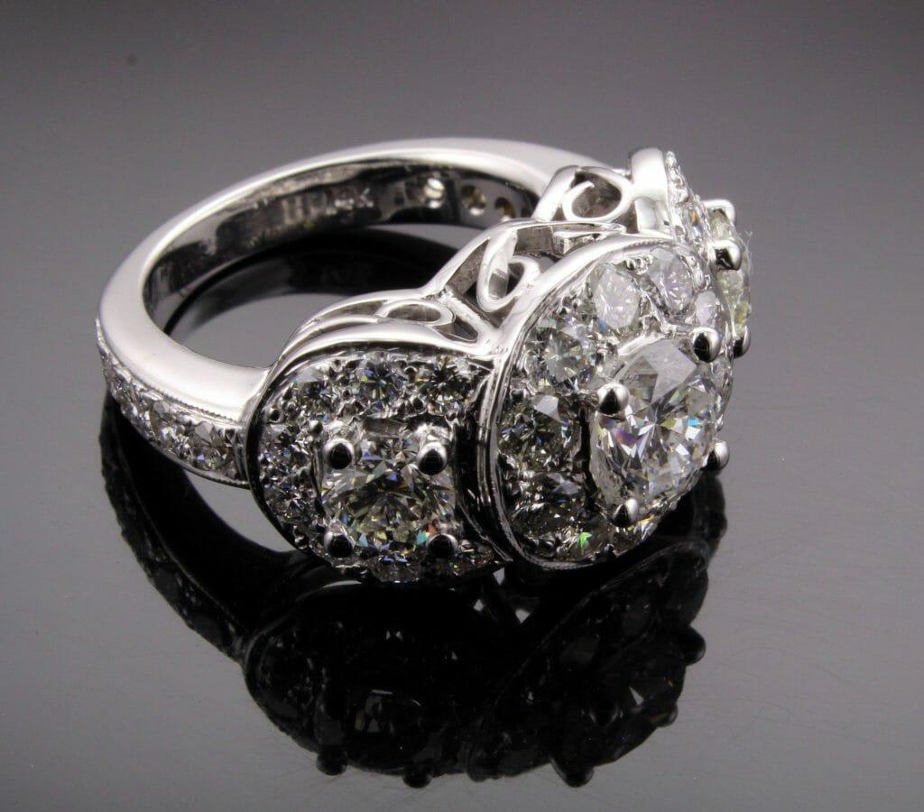 Moissanite Three Stone Halo Engagement Ring Keezing