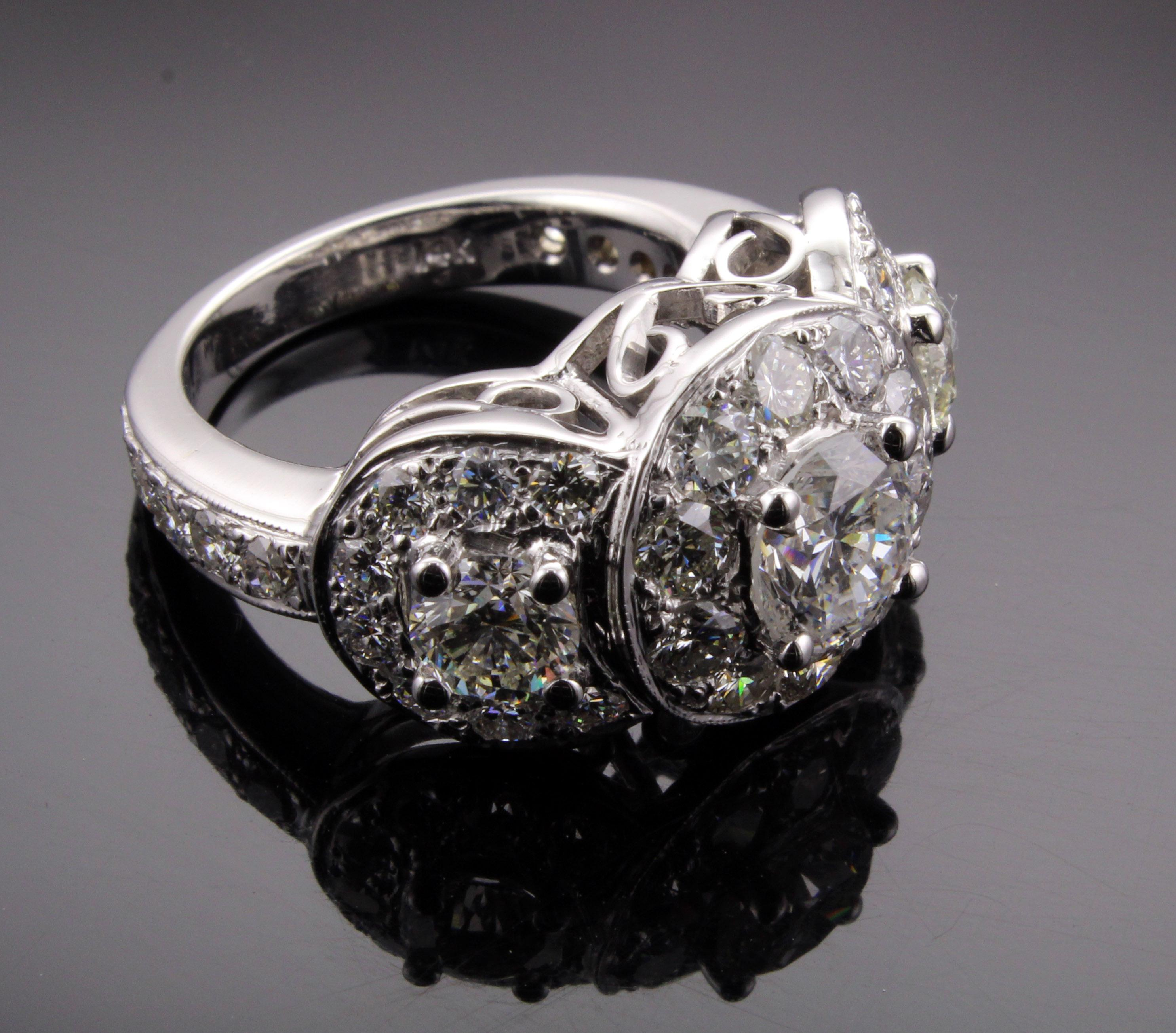 Moissanite Three Stone Halo Engagement Ring Keezing