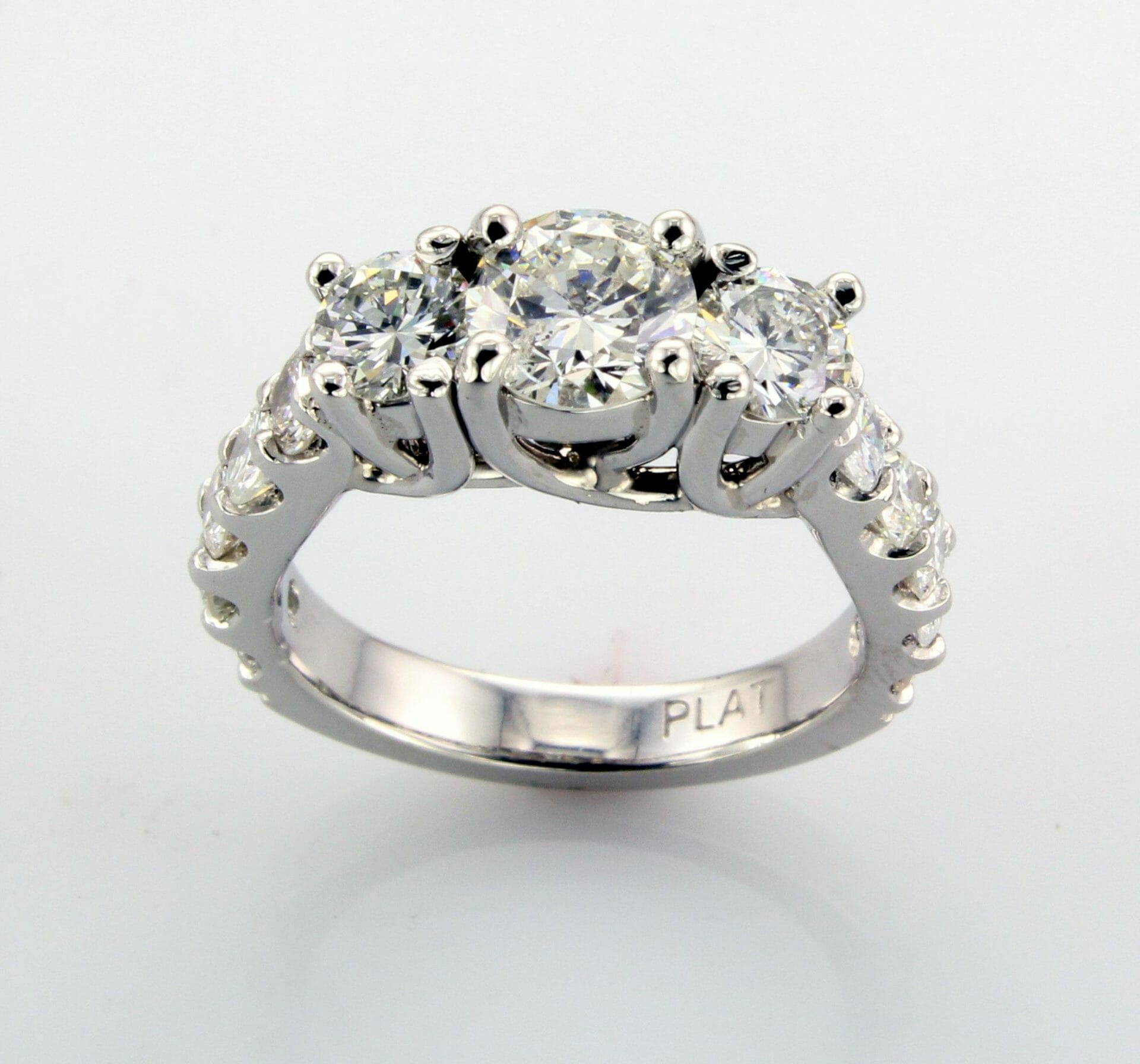 Holly Three Stone Engagement Ring Side View