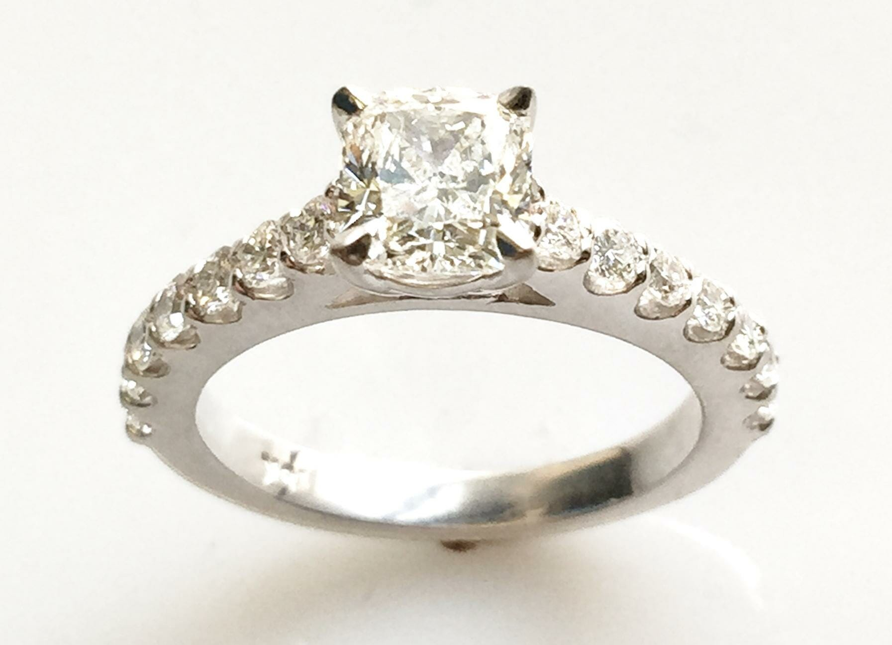 Cushion Cut Diamond Engagement Ring with Scalloped Sides