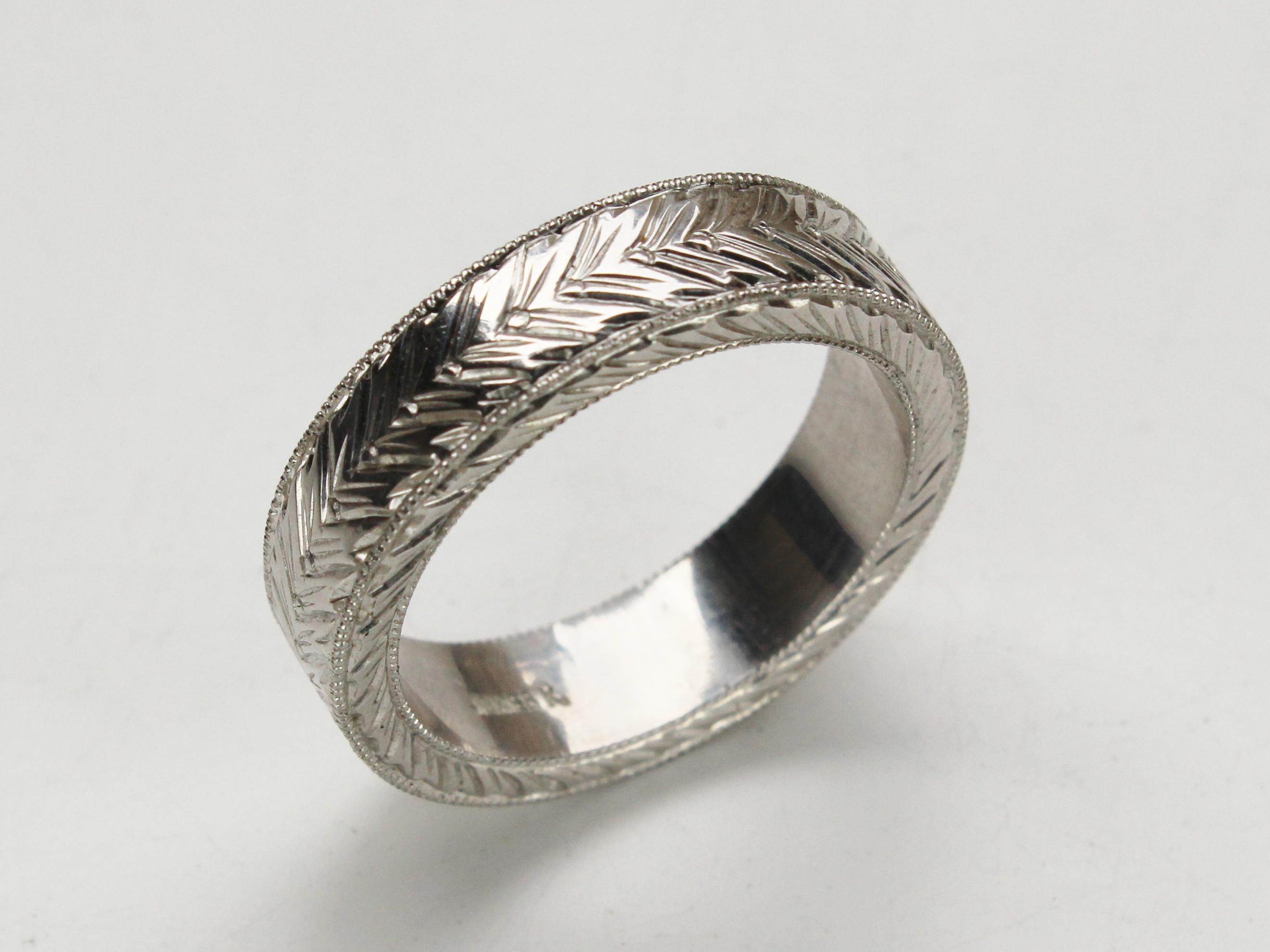 Chevron mens hand carved ring
