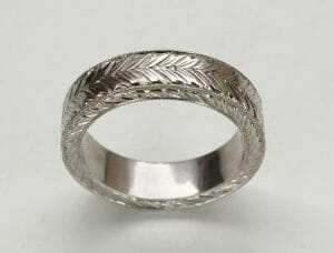 chevron mens hand carved ring front view