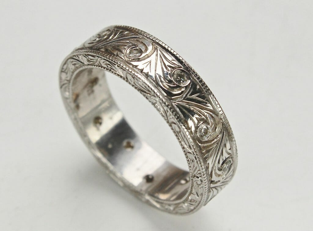 Men S Art Carved Ring With Diamonds And Vintage Swirl