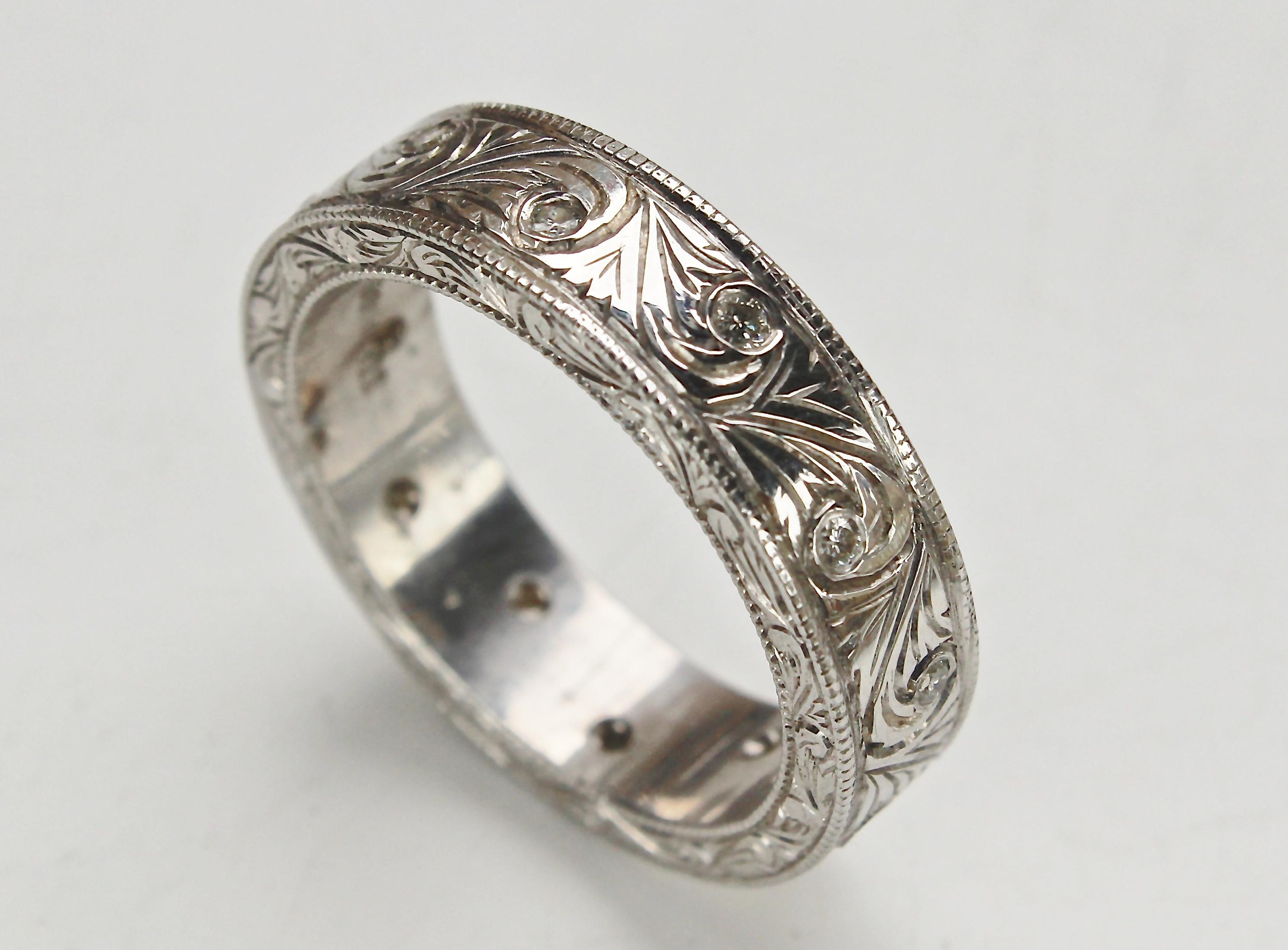 14K white gold mens vintage swirl hand carved ring