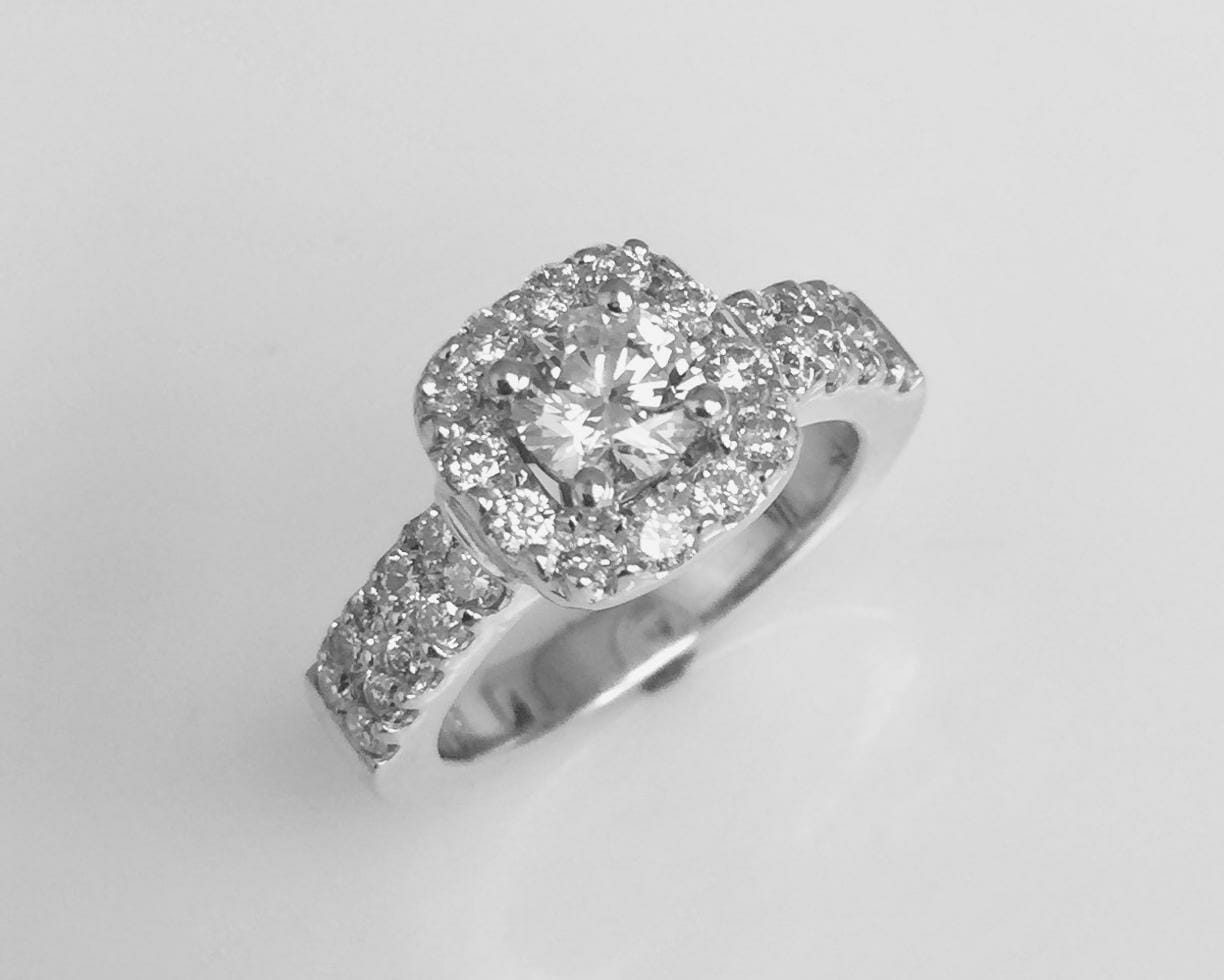 Cushion Halo Diamond Engagement Ring Double Shank