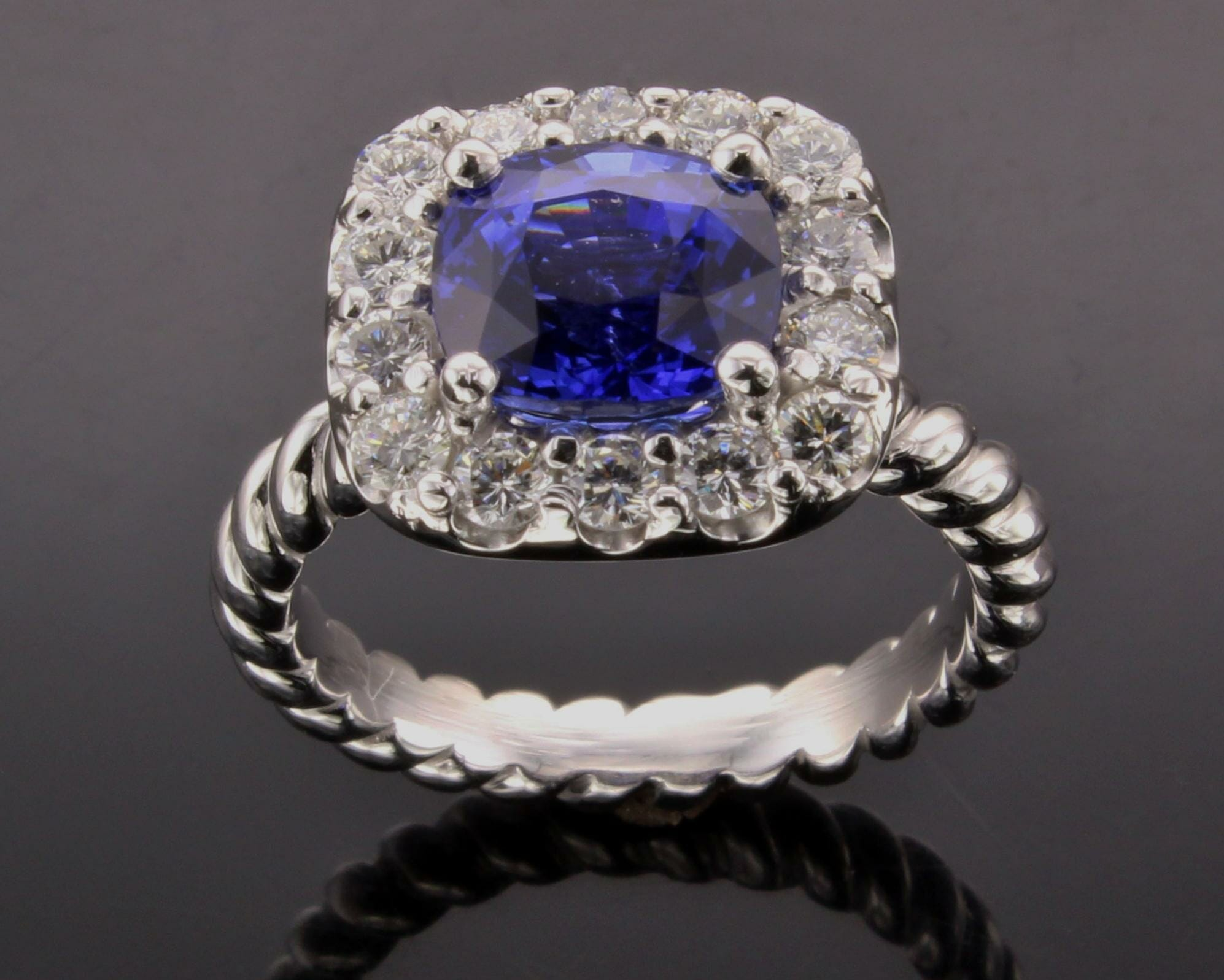 Sapphire Cushion Cut Halo Ring