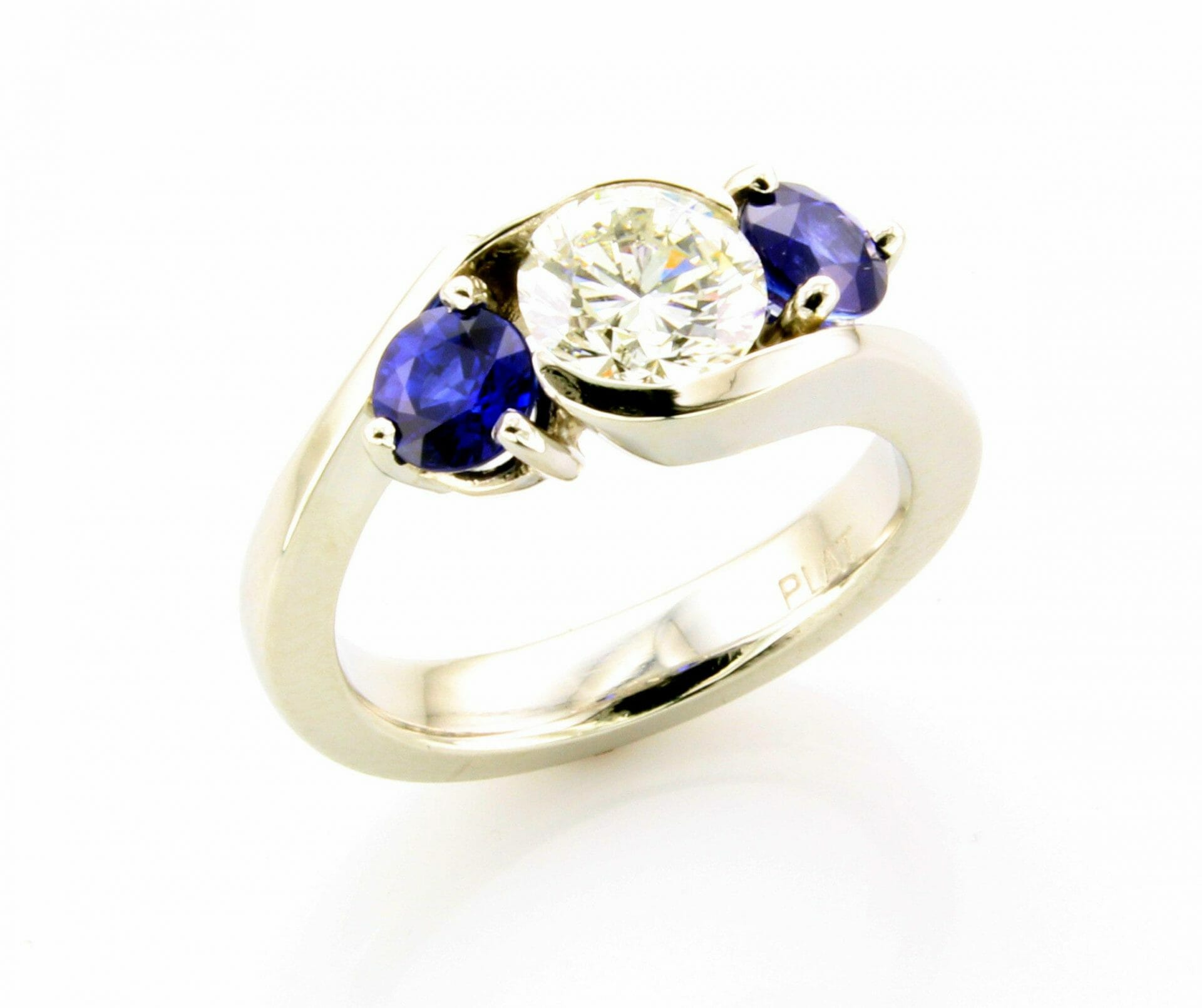 Sapphire and diamond bypass ring