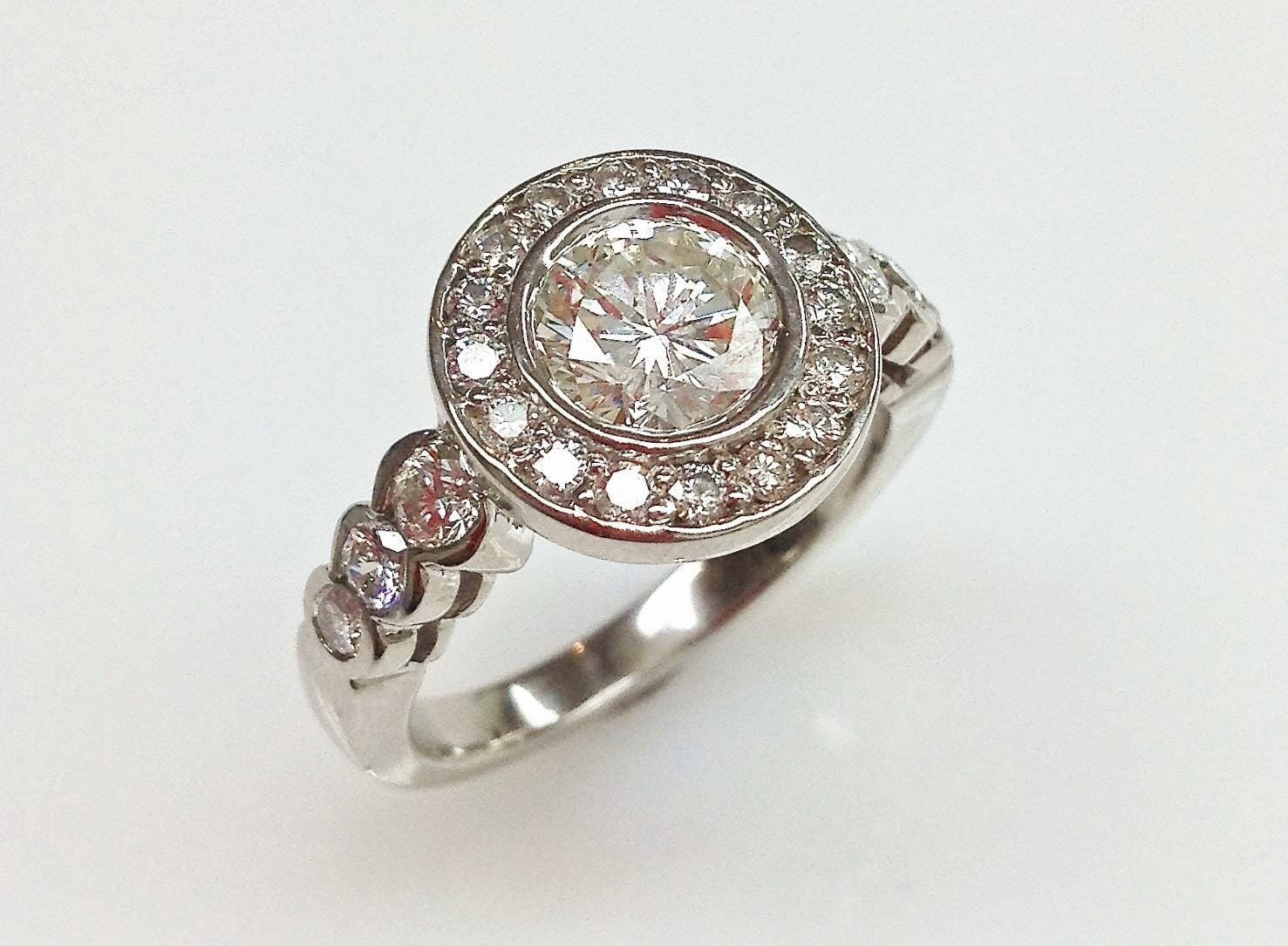 amiela vintage diamond halo engagement ring