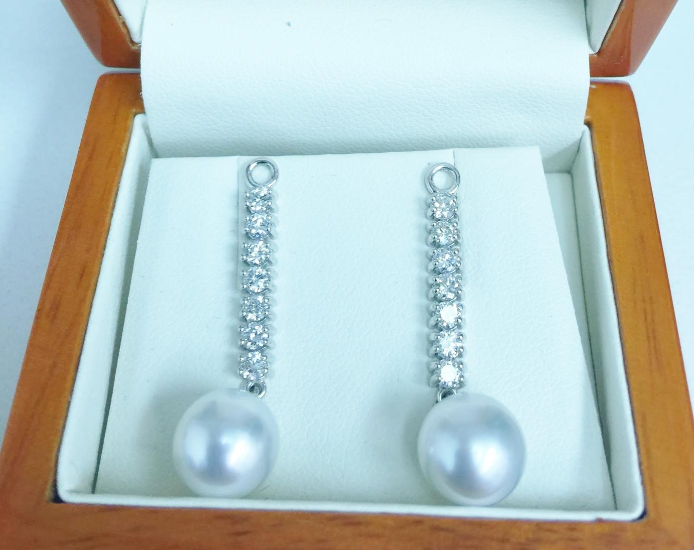 pearl and diamond drop earring pendants