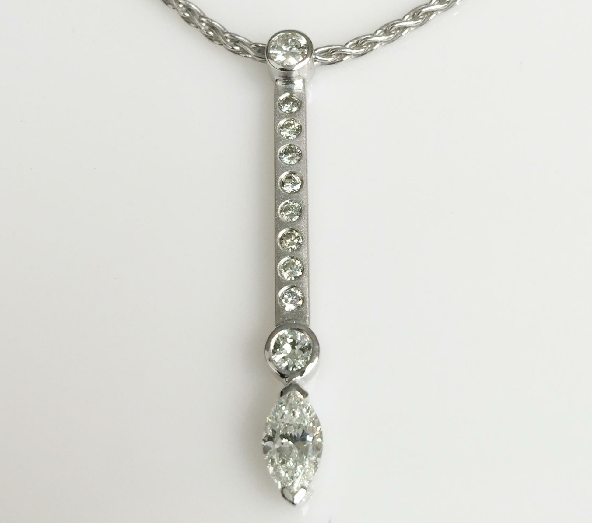 jewelry custom products spexton necklace diamond textured marquise pendant