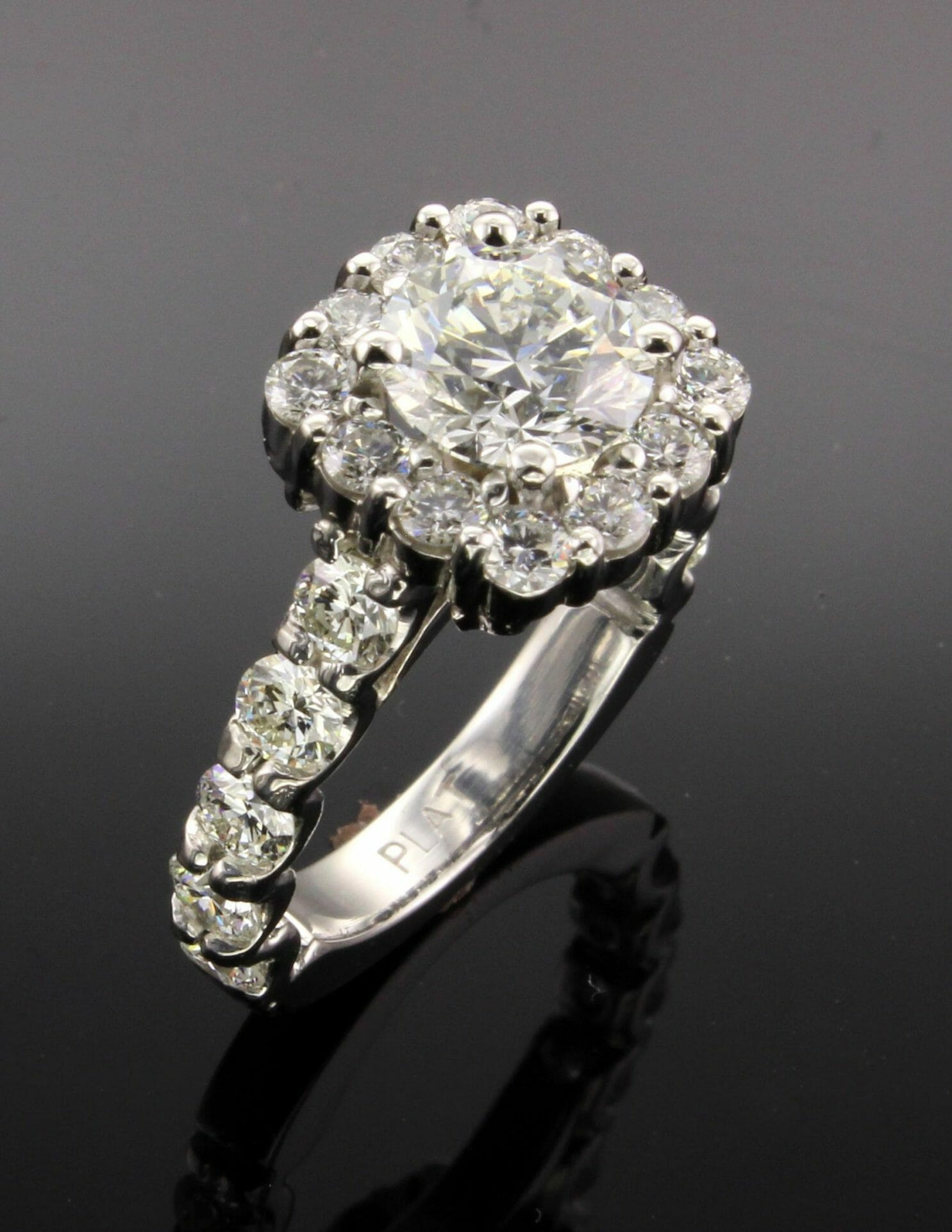 shop diamond cushion halo detail rings index platinum custom made ring jewellery center ct jewelry