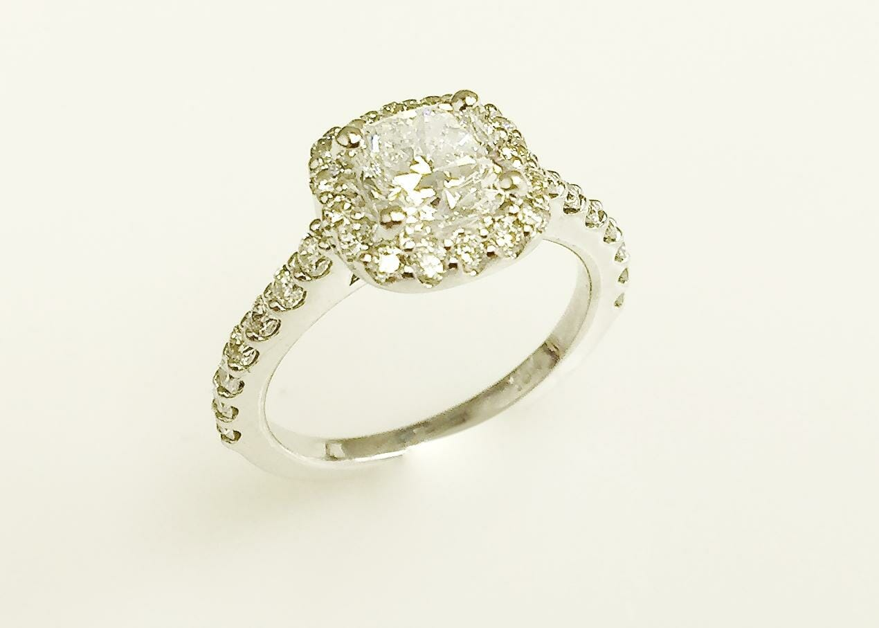 Elina cushion halo engagement ring