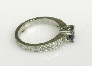 Montana sapphire engagement ring side view