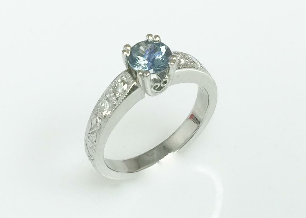 Diamond Rings With Blue Stone