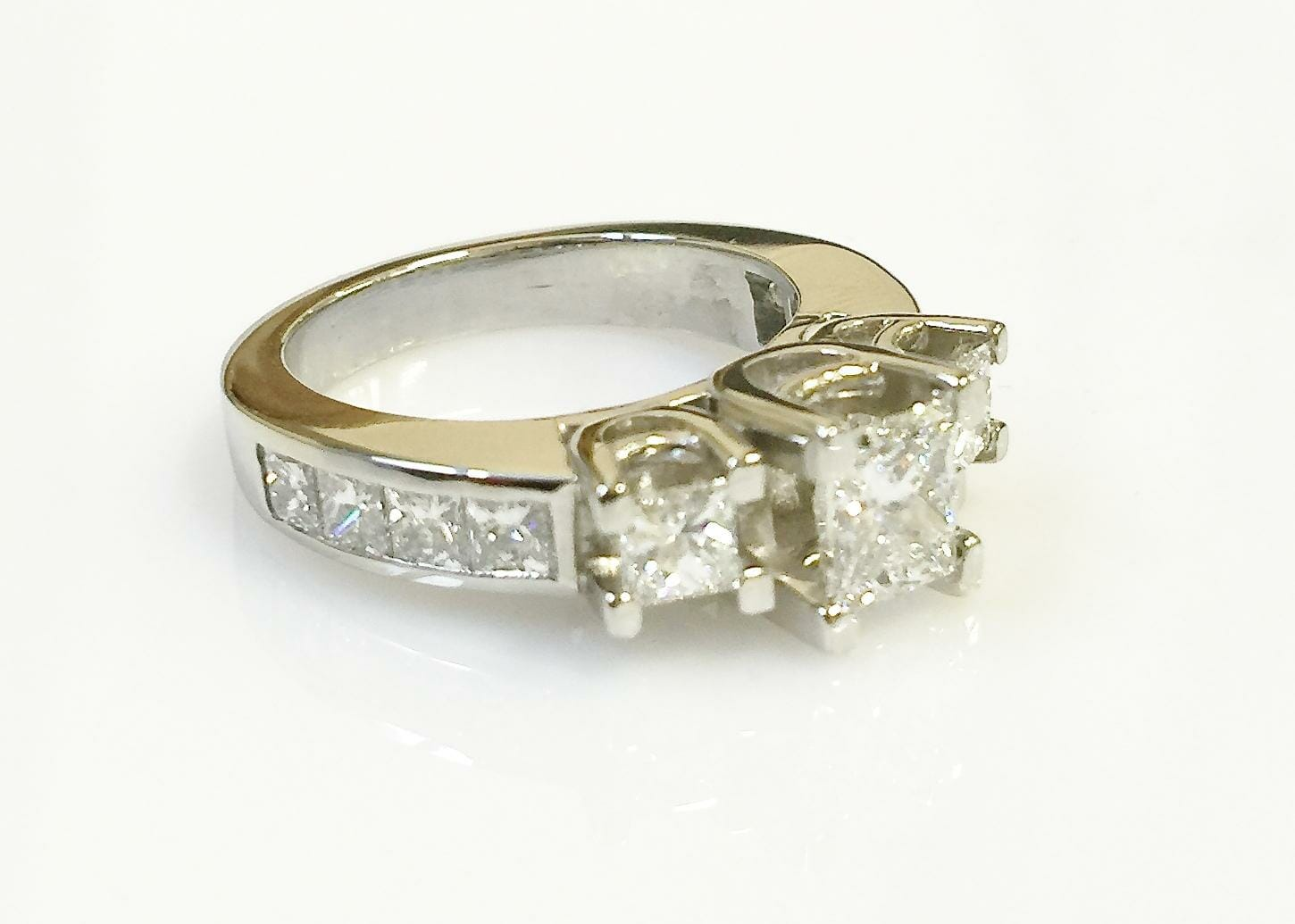 Mary platinum three stone ring top view