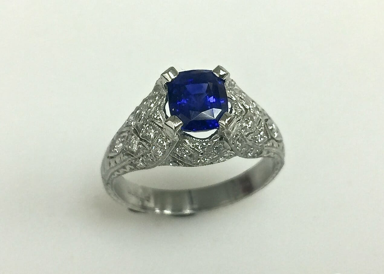 Barbara carved sapphire and diamond ring