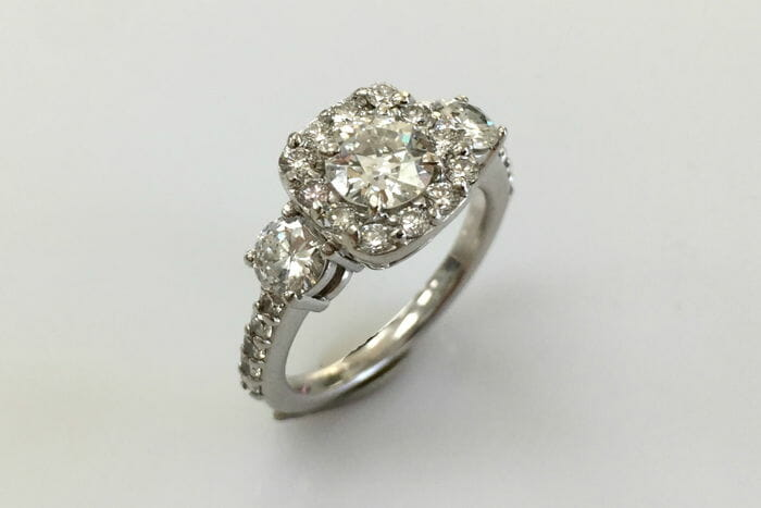 candy three stone diamond halo ring
