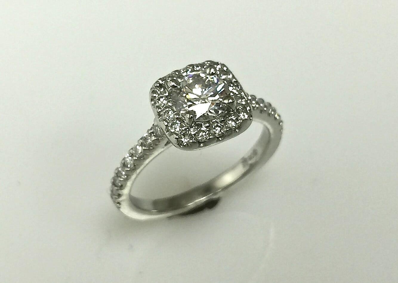 Elina Cushion Halo Engagement Ring