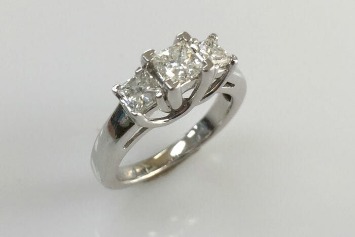 Zena Three Stone Princess Cut Diamond Ring